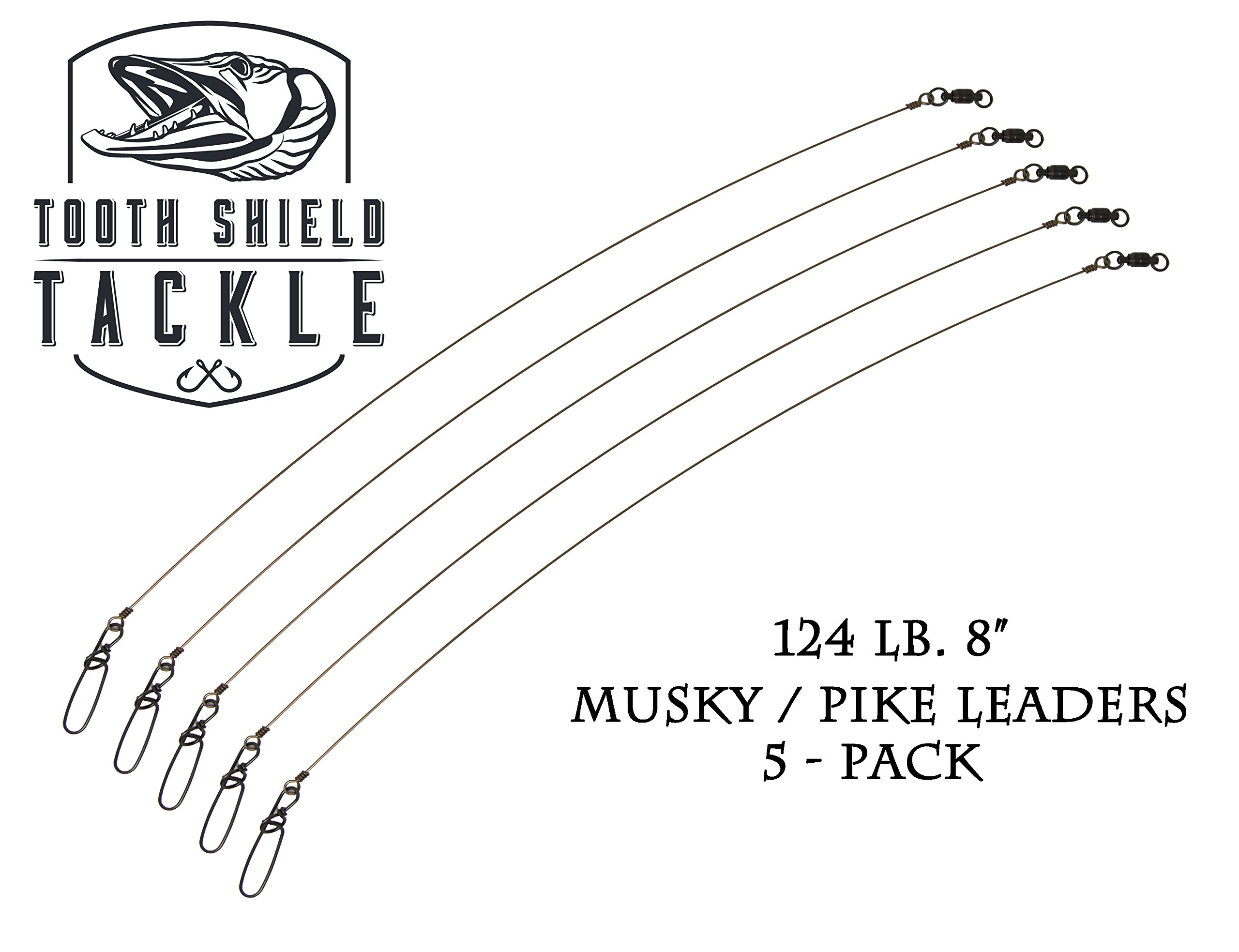 Tooth Shield 124 lb. 8'' 5 Pack Premium Stainless Steel Solid Wire Musky Pike Leader Jerk Bait Bucktail by Tooth Shield