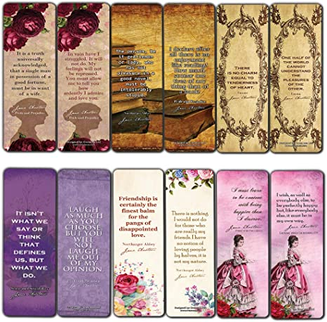 Jane Austen Collection Bookmark Cards 60 Pack Vintage Classics Book Quotes Pride and Prejudice Love Friendship Bookish Literary Gifts for