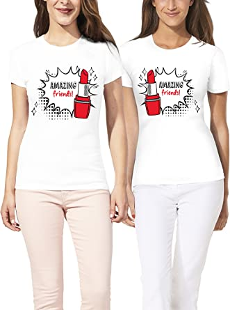 VIVAMAKE® Pack 2 Camisetas de Mujer Originales para Mejores Amigas con Diseño Amazing Friends: Amazon.es: Ropa y accesorios