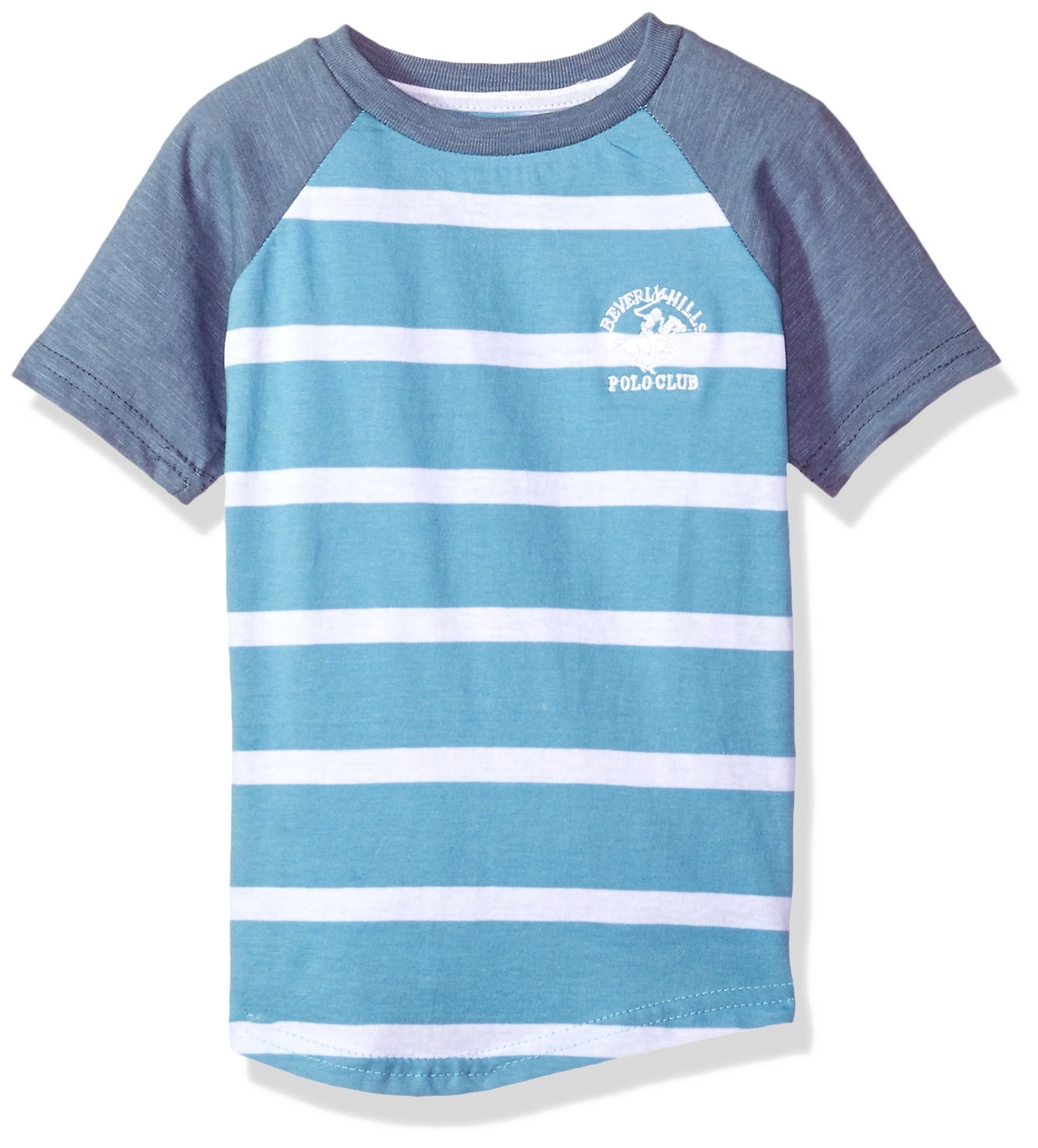 Beverly Hills Polo Club Boys' Toddler Short Sleeve Stripe Tee, Ethereal Blue, 2T