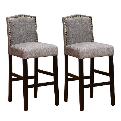 Astonishing Lsspaid 29 Inch Fabric Backed Bar Stools Set Of 2 Gray Inzonedesignstudio Interior Chair Design Inzonedesignstudiocom