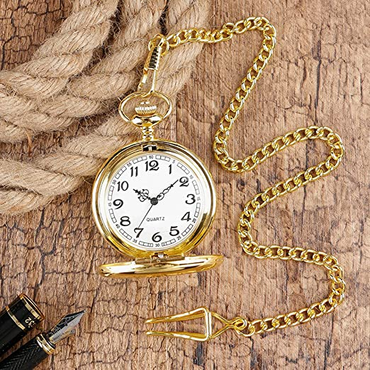 Edwardian Men's Accessories WIOR Classic Smooth Vintage Pocket Watch Sliver Steel Men Watch with 14'' Chain for Xmas Fathers Day Gift $9.99 AT vintagedancer.com