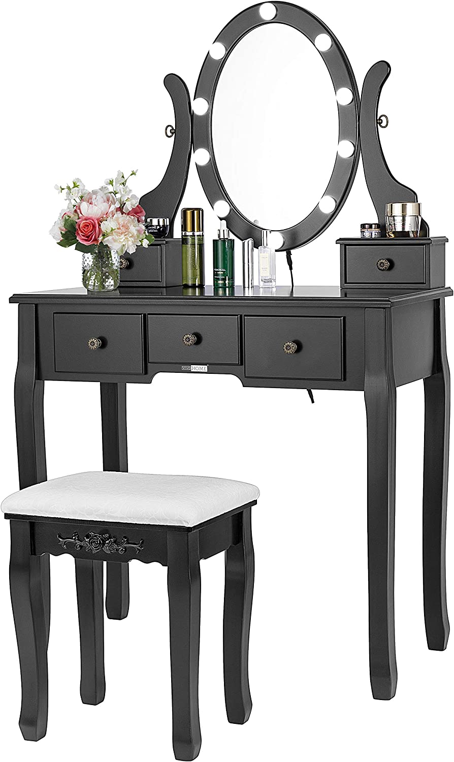 Vivohome Makeup Vanity Set With 10 Led Bulbs Dressing Table With 360 Rotating Lighted Mirror And Cushioned Stool Black Kitchen Dining