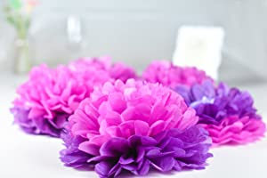 PAPER JAZZ Dual Color Pompom Flower Lantern Paper Pinwheel Fan Party Decoration kit for Wedding Birthday Bridal Shower Baby Shower Home Store Decoration (HOT Pink Purple)