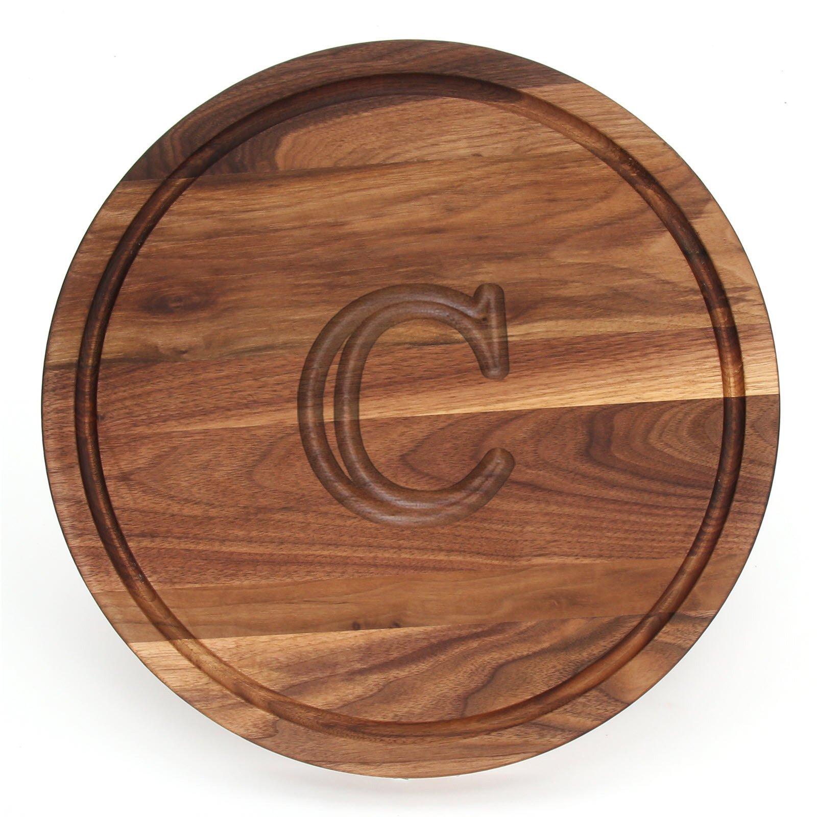 BigWood Boards W110-C Cutting Board, Monogrammed Cutting Board, Medium Round Cheese Board, Thick Walnut Wood Serving Tray, ''C'' by BigWood Boards