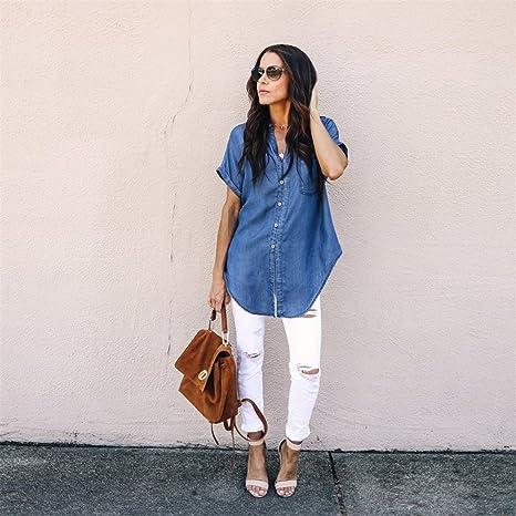 50ddf69ab64 UOFOCO Summer Shirt Women Blouse Casual Jacket Soft Denim Tops Blue Jean  Button Short Sleeve