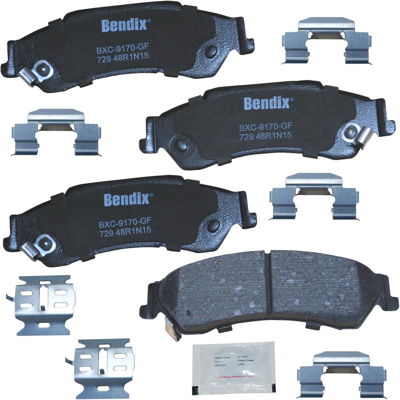 Bendix CFC1630 Premium Copper Free Ceramic Brake Pad with Installation Hardware Rear
