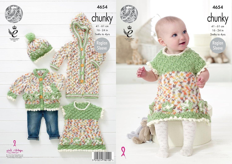 KNITTING PATTERN Baby Coat Hat Waistcoat and Dress Chunky King Cole 4653