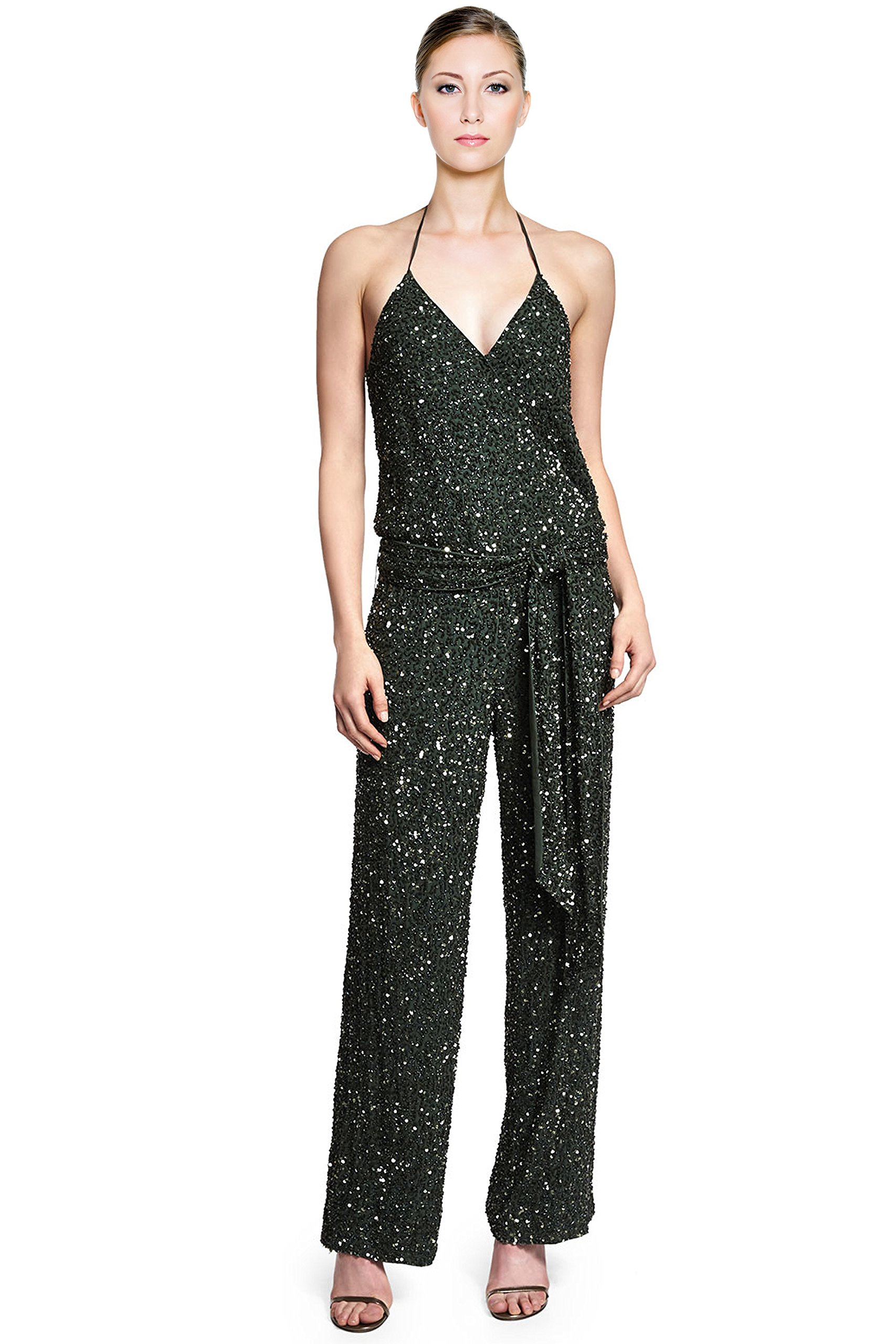 Haute Hippie Embellished Sequined Camisole Belted Jumpsuit