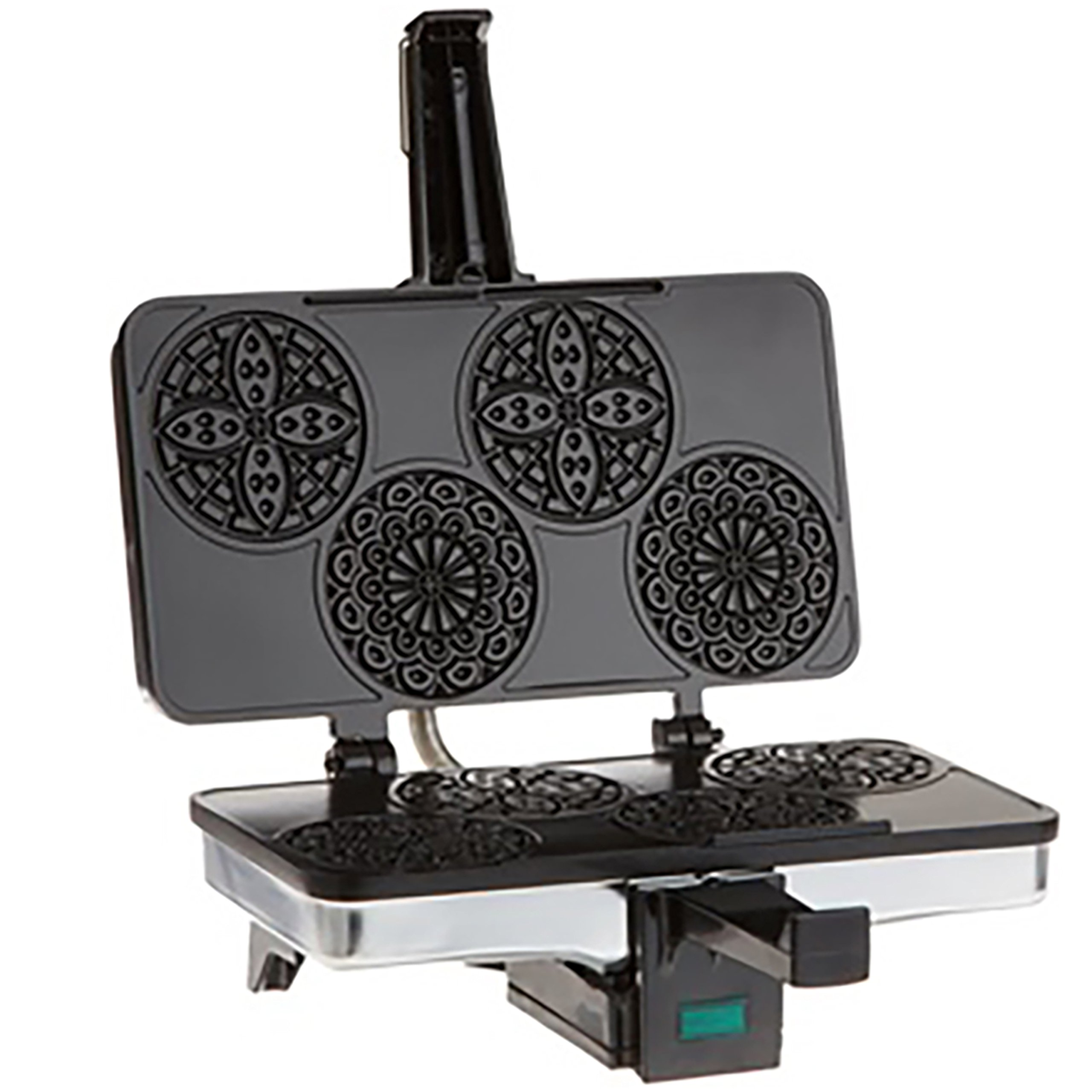 CucinaPro Mini Italian Pizzelle Waffle Maker Iron - Makes Four 3 1/4 Inch Pizzelle Traditional Cookies - Black Non-Stick Interior by CucinaPro
