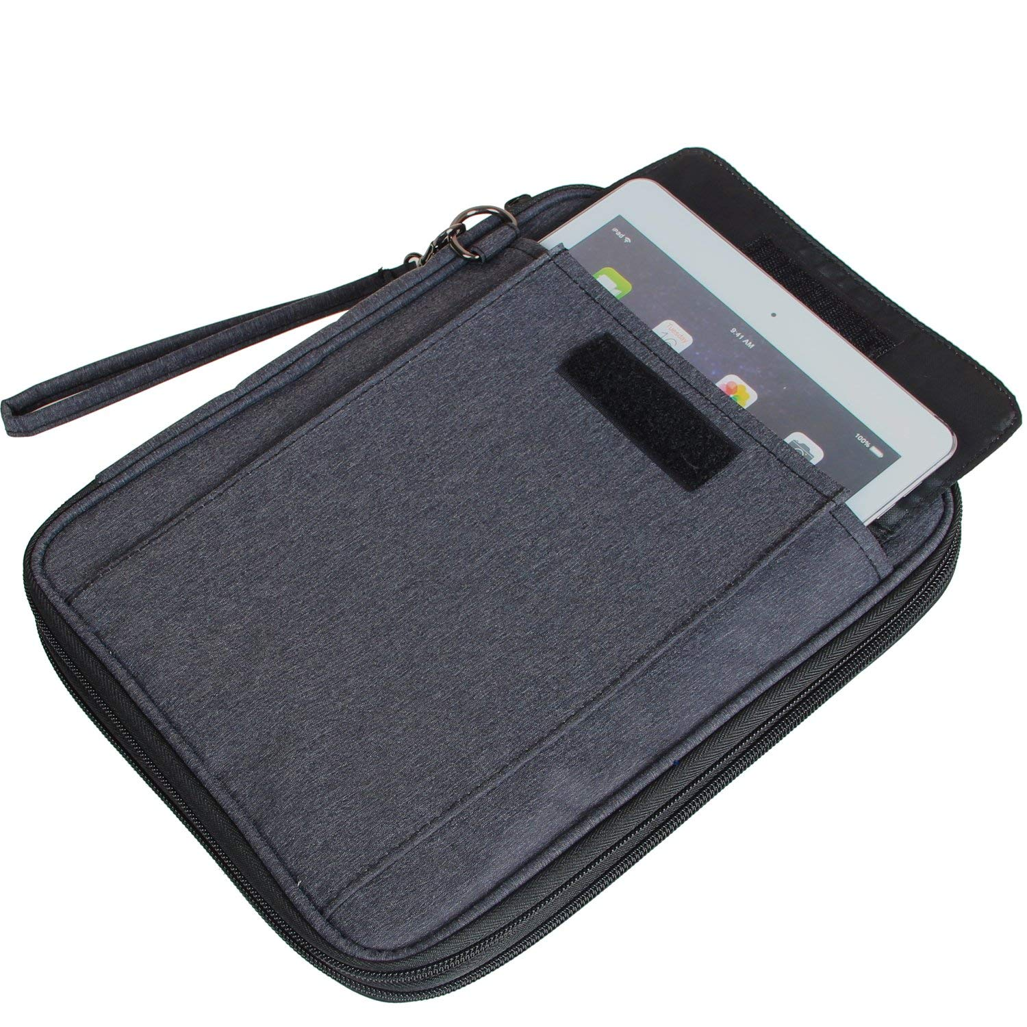 Damero Electronics Organizer with 9.7 iPad Sleeve Case// Travel Accessories Bag for Passport Business Cards /& Document Case Black
