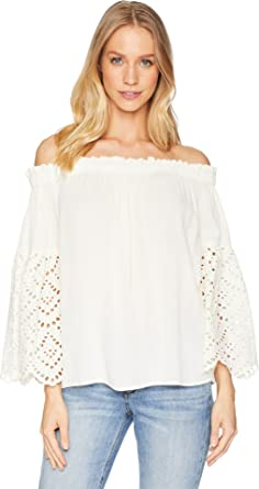 be60127f2ffd9e 1.State Women s Off Shoulder Blouse with Eyelet Sleeves Antique White  X-Small