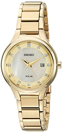 Seiko Women's Diamond Dial Dress Japanese-Quartz Watch with Stainless-Steel  Strap, Gold, 14 (Model: SUT320