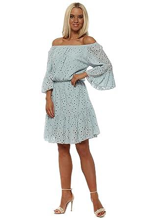 31d7fef5d3 MONTON Crochet Lace Off The Shoulder Dress One Size Blue: Amazon.co.uk:  Clothing