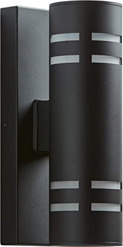 Amazon Brand Rivet Contemporary Exterior Porch Cylinder Wall Sconce Fixture with Light Bulb – 4.25 x 6.5 x 13 Inches, Black
