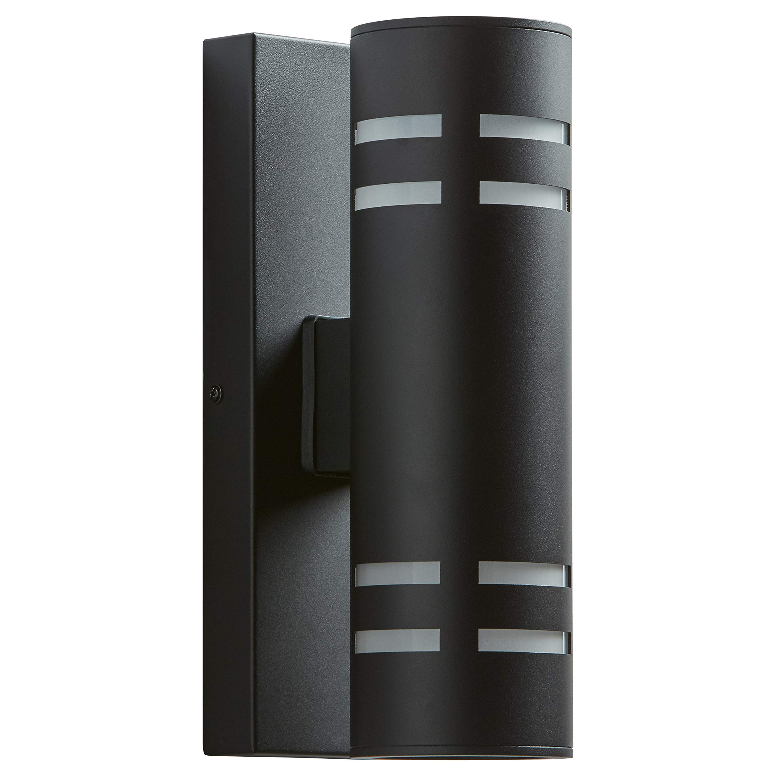 Amazon Brand – Rivet Contemporary Exterior Porch Cylinder Wall Sconce Fixture with Light Bulb - 4.25 x 6.5 x 13 Inches, Black