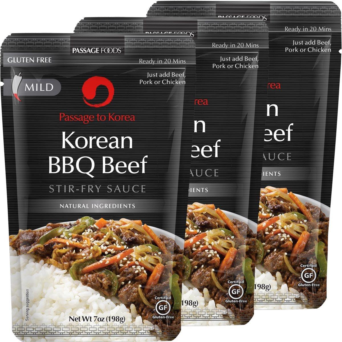 Passage Foods To Korea, Korean Bbq Beef Stir Fry Sauce, 7 Ounce, 3 Count