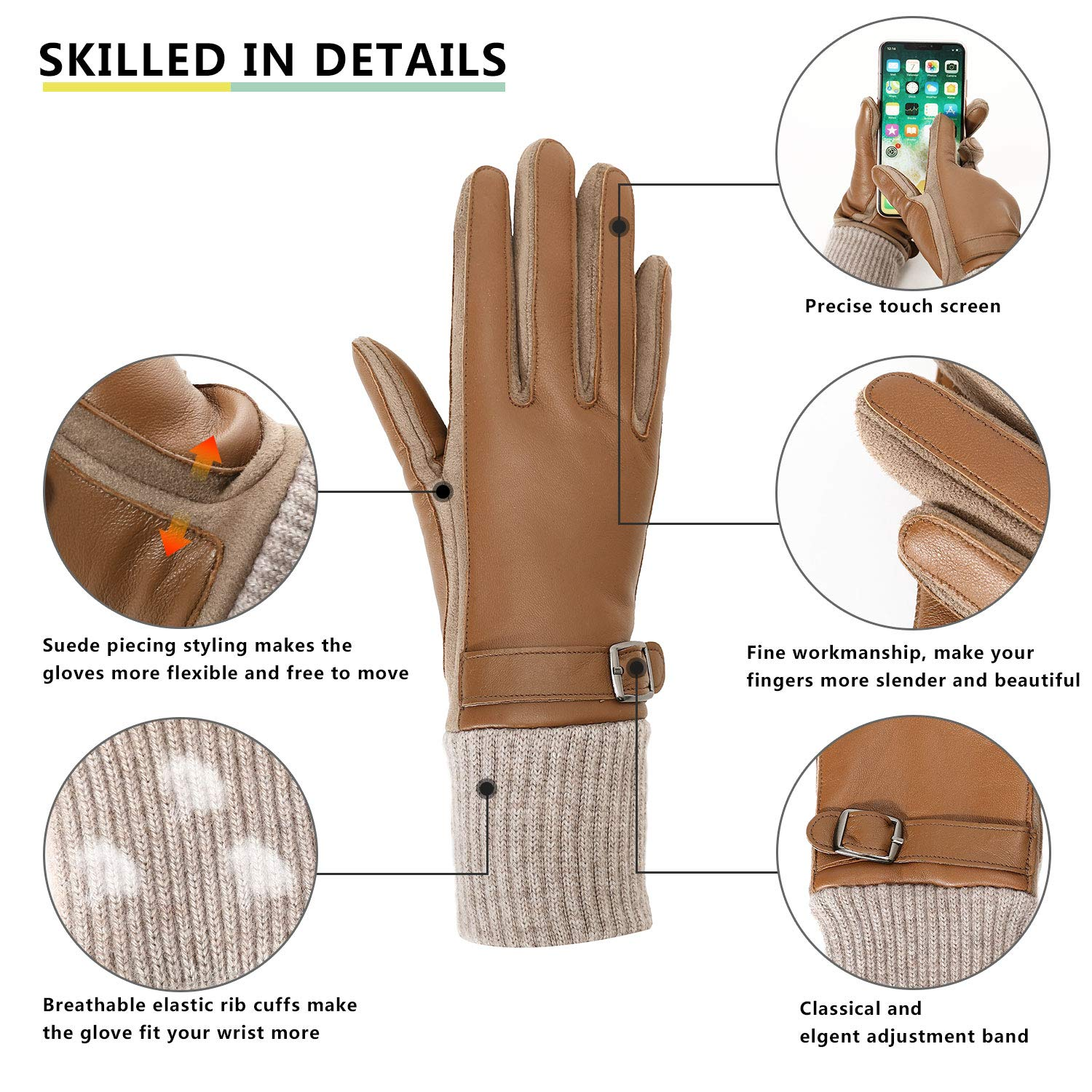 86dd8abc25b20 PAGE ONE Women Winter Leather Gloves Soft Warm Touchscreen Driving Gloves  at Amazon Women s Clothing store