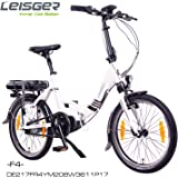"Leisger ® F4 20"" Zoll Elektrofahrrad, E-Faltrad,Klappard, E-Bike, Pedelec, 36V 250W Li-Ion Akku mit 11Ah PANASONIC Zellen, Bafang MAX Display & Mittelmotor in glänzend weiß"