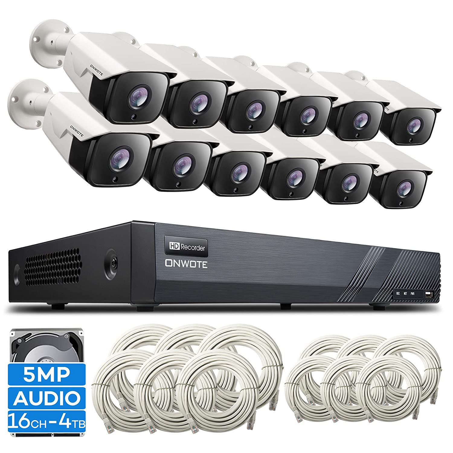 ONWOTE Expandable Audio 16 Channel 5MP PoE Security Camera System with 4TB Hard Drive, 12 Outdoor 5 Megapixels 1944P HD IP PoE Cameras, 16CH 5MP H.265 NVR Home Business Video Surveillance Kit