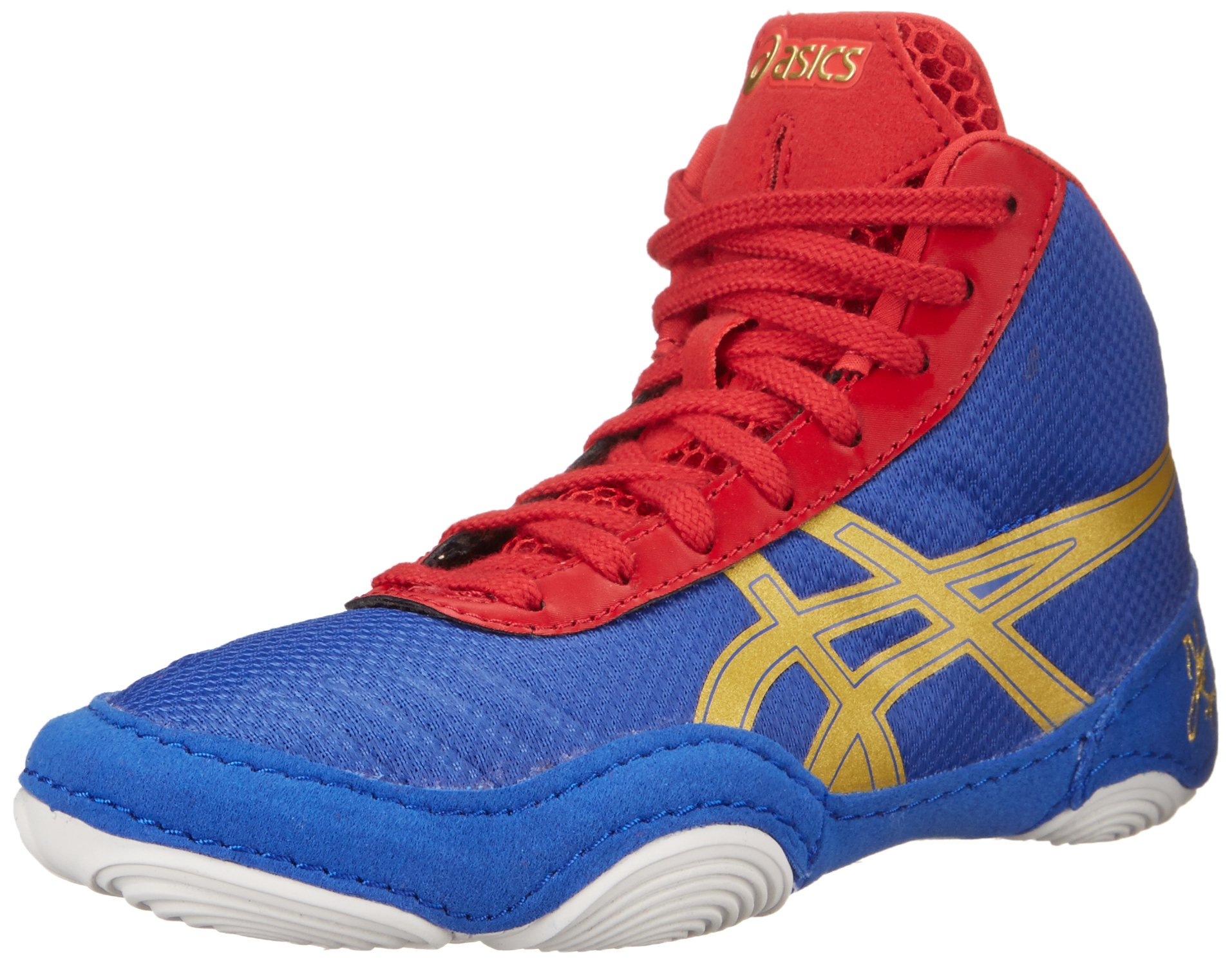 ASICS JB Elite V2.0 GS Wrestling Shoe (Little Kid/Big Kid), Jet Blue/Olympic Gold/Red, 3 M US Little Kid by ASICS