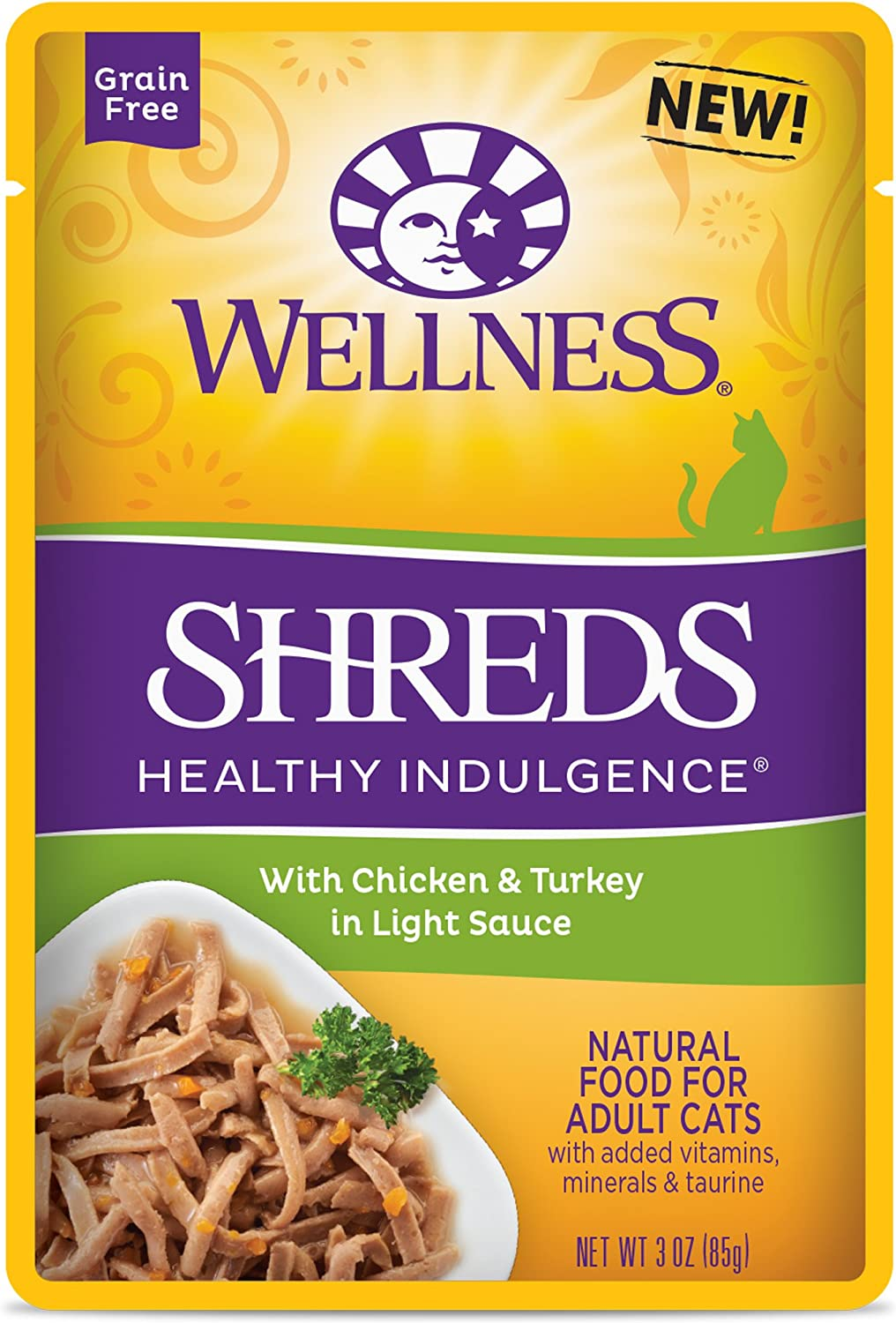 Wellness Healthy Indulgence Natural Grain Free Wet Cat Food Pouches Shreds Chicken & Turkey