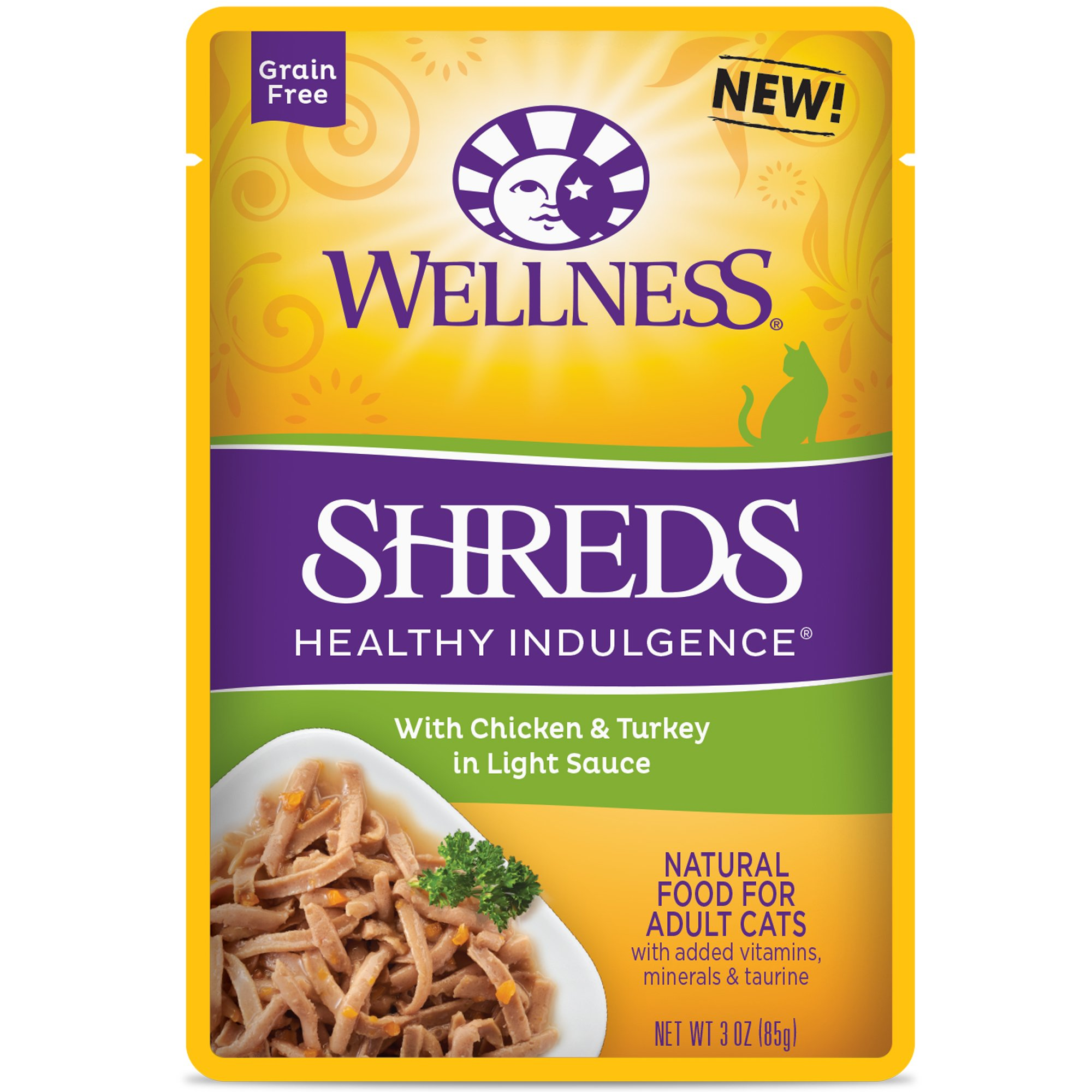 Wellness Healthy Indulgence Natural Grain Free Wet Cat Food, Shreds Chicken & Turkey, 3-Ounce Pouch (Pack Of 24) by Wellness Natural Pet Food