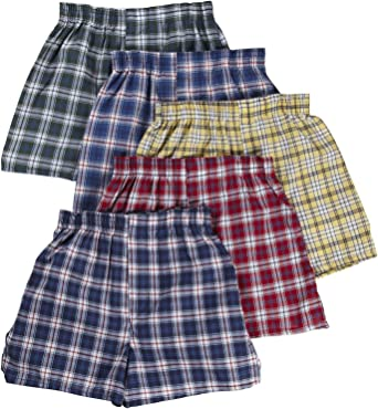 Fruit of the Loom 5Pack Boys Plaid Boxers Boxer Shorts Kids Underwear L