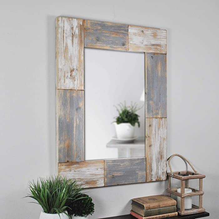"""FirsTime & Co. Mason Planks Wall Mirror, 31.5""""H x 24""""W, Aged White & Gray Wood"""