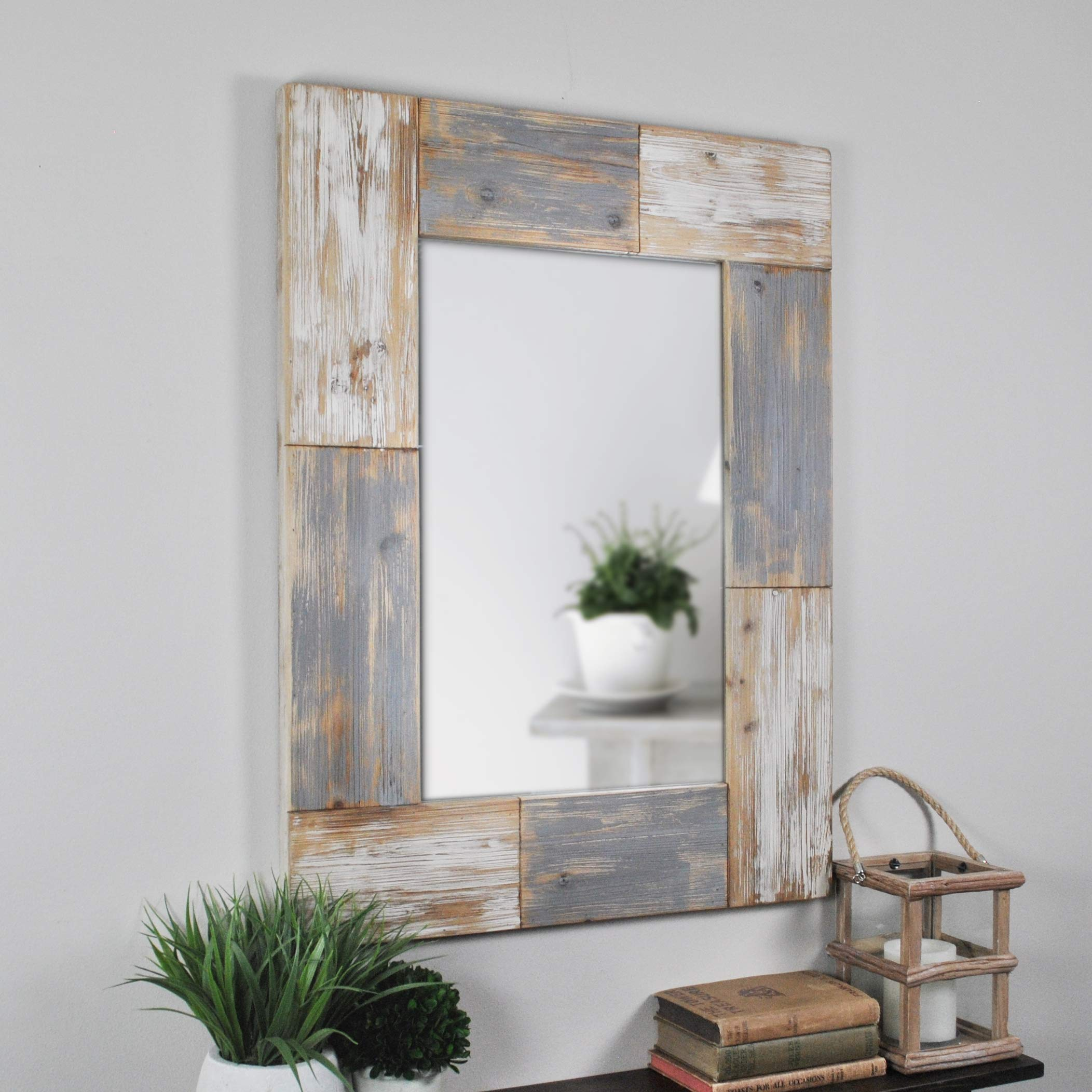 FirsTime & Co. 70001 Mason Planks Wall Mirror, 31.5'' H x 24'' W, Aged White & Gray Wood