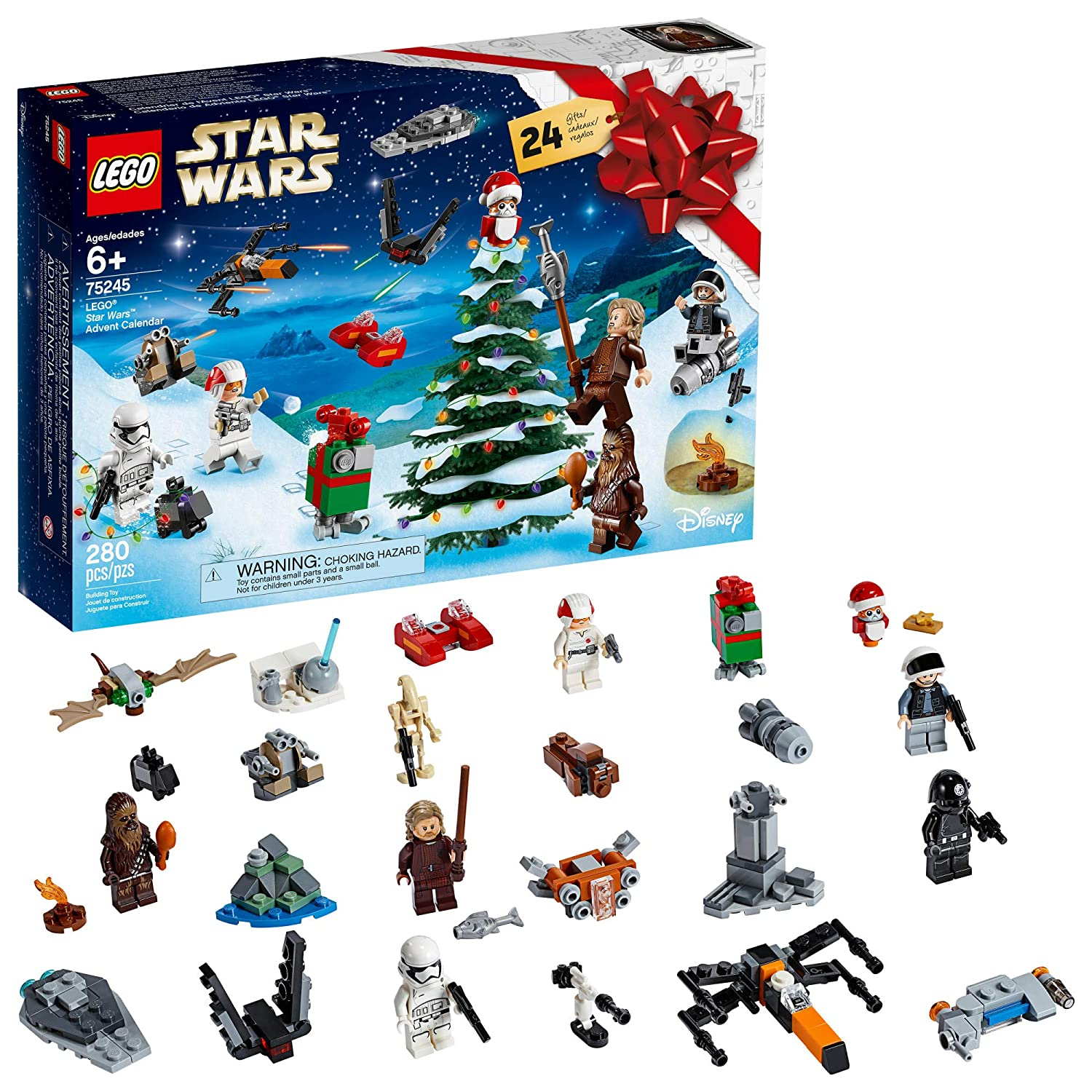 Calendrier Star Wars 2019.Lego Star Wars 2019 Advent Calendar 75245 Holiday Gift Set Building Kit With Star Wars Minifigure Characters 280 Pieces