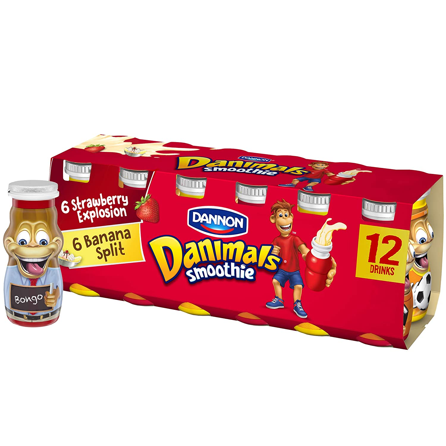 Danimals Smoothies, Strawberry Explosion & Banana Split, Gluten-Free, Non-GMO Project Verified, 3.1 oz., 12 Pack