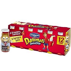 Danimals Smoothies, Strawberry Explosion & Banana Split, Gluten-Free, Non-GMO Project Verified, 3.1 oz., 12 Pack