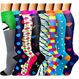 ACTINPUT Compression Socks (8 Pairs) for Women & Men 15-20mmHg - Best Medical,Nursing,Hiking,Recovery & Flight Socks