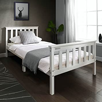 European Beds Direct Tinkertonk 3ft Premium Single Wooden Bed Frame White Single Size Solid Pine Wood Bedstead White