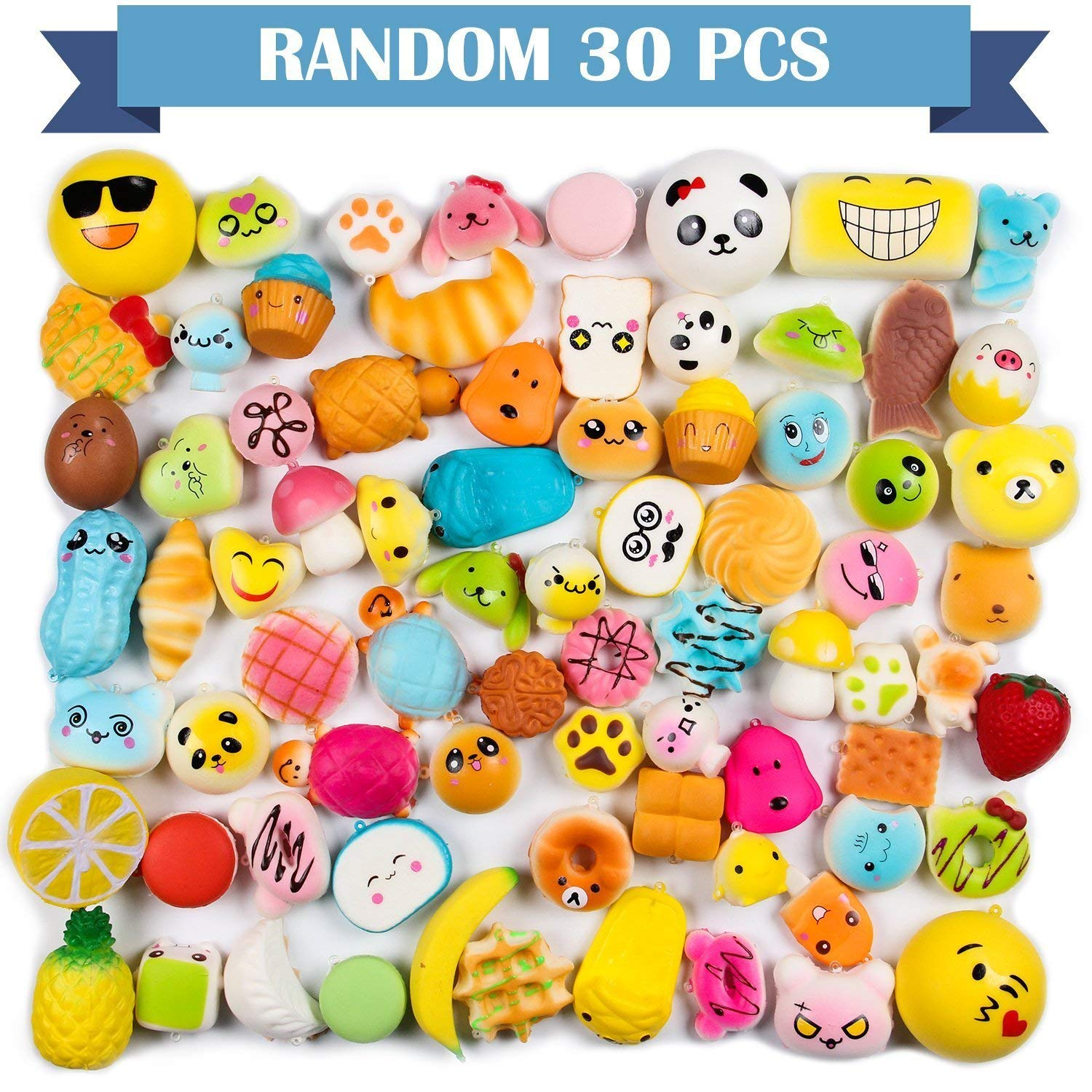 WATINC Random 70 Pcs Squishies, Birthday Gifts for Kids Party Favors, 30 Pcs Kawaii Simulation Bread Squishies 40 Pcs Mochi Squishies Cat Panda Goodie Bags Egg Fillers, Keychain Phone Straps by WATINC (Image #3)