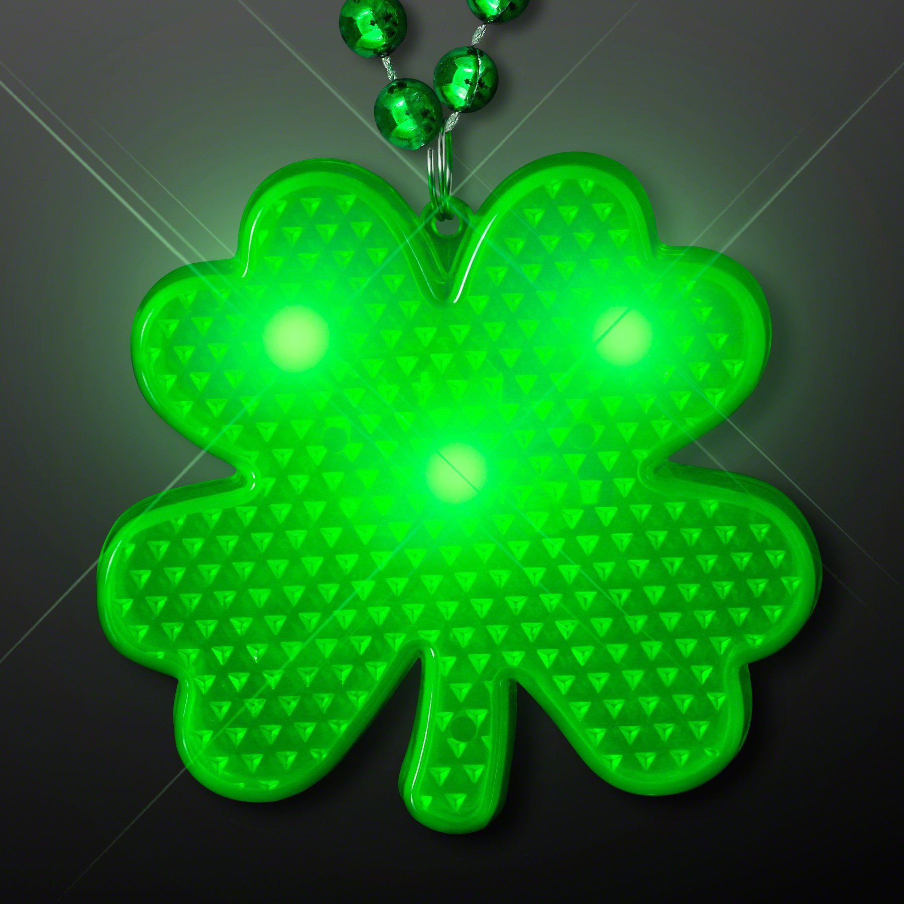 Flashing Light Up LED Shamrock Charm on Bead Necklaces (Set of 12)