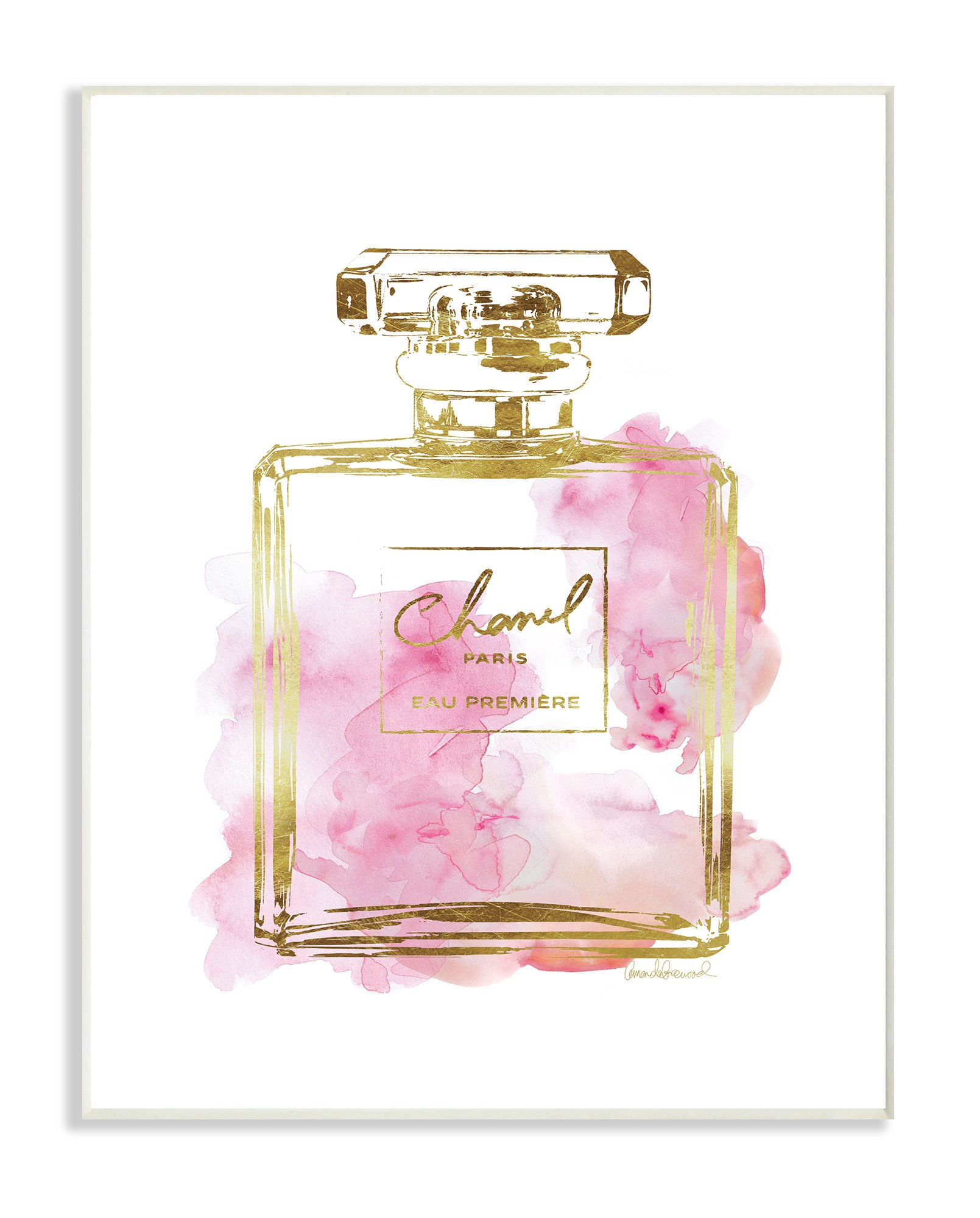 The Stupell Home Decor Collection Stupell Industries Glam Perfume Bottle Gold Pink Oversized Wall Plaque Art, Proudly Made in USA by The Stupell Home Decor Collection