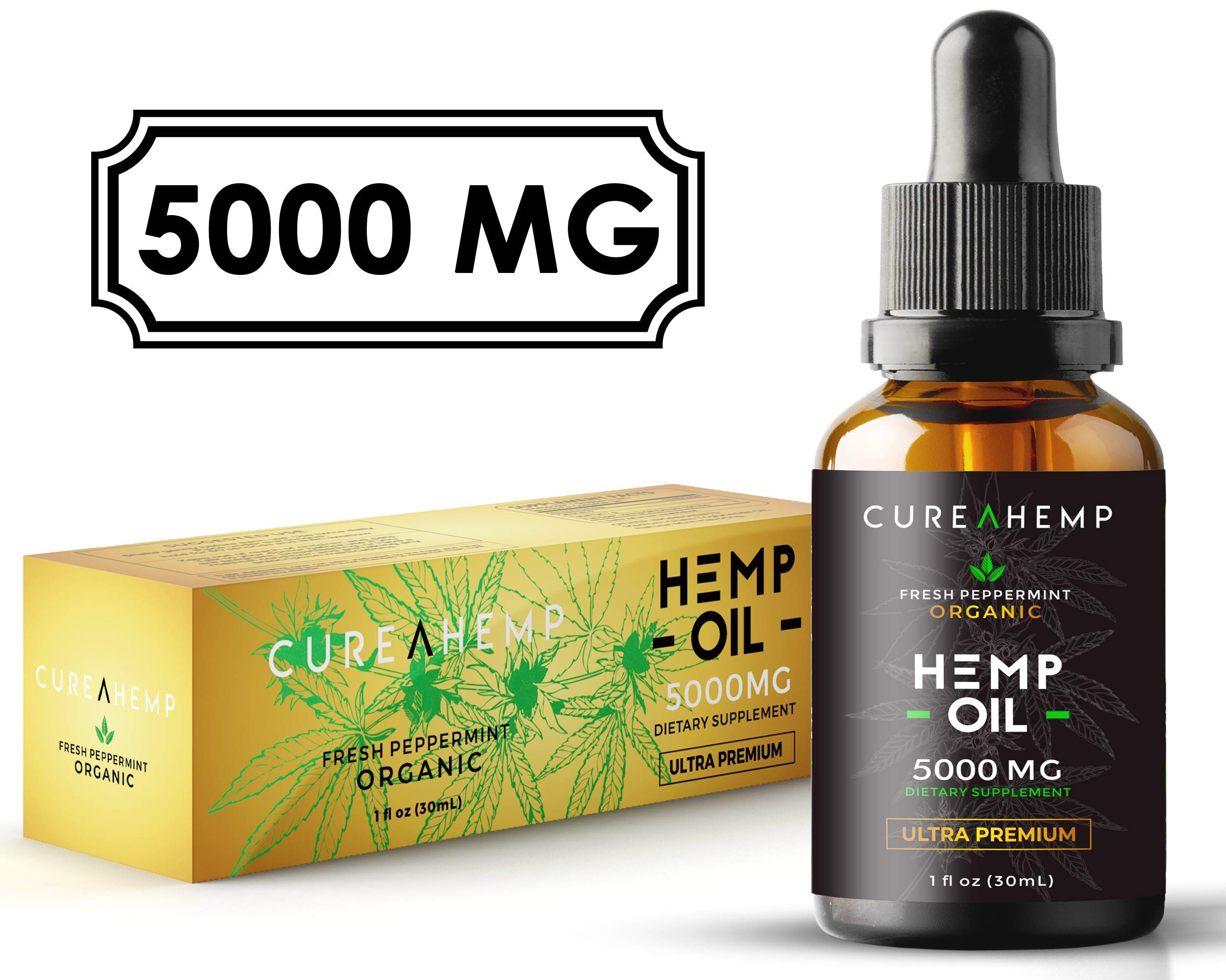 Pure Hemp Oil Extract for Pain Relief, Anxiety and Sleep Support - 5000MG Full Spectrum Raw and Organic Blend (1M Spply, 1 Fl Oz)