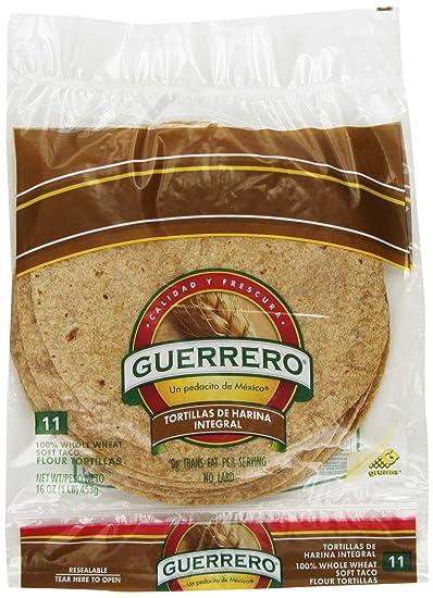 Guerrero Whole Wheat Soft Taco Flour Tortillas | High Fiber, Trans Fat Free | Whole Grain | Small Size | 11 Count