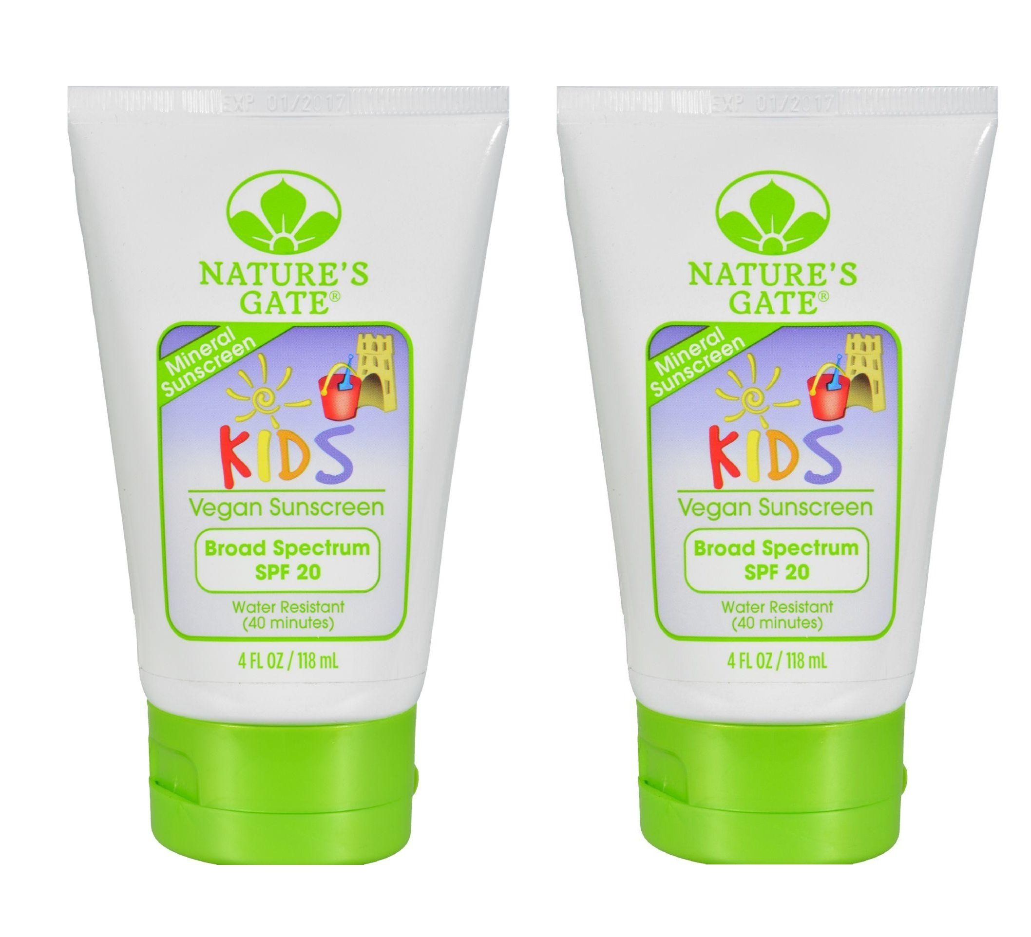 Nature's Gate Mineral Kids Broad Spectrum SPF 20 Sunscreen (Pack of 2) With Safflower Seed Oil, Shea Butter and Apricot Kernal Oil, 4 fl. oz. Each