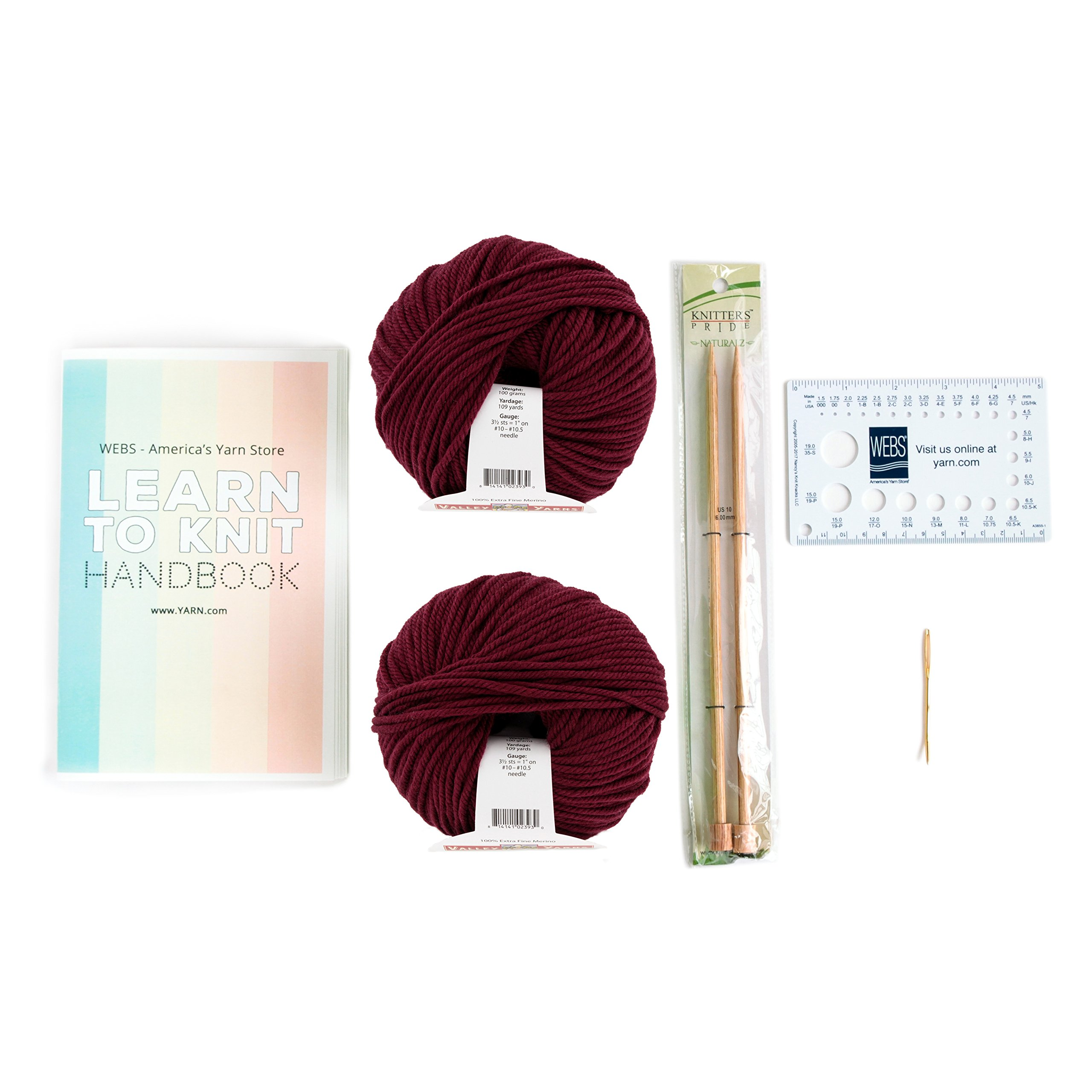 Learn to Knit Kit by WEBS: Scarf Project - Burgundy