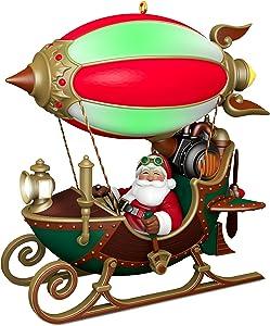 Hallmark Christmas Ornament 2018 Year Dated Santa Sleigh Flight of Fancy With Light