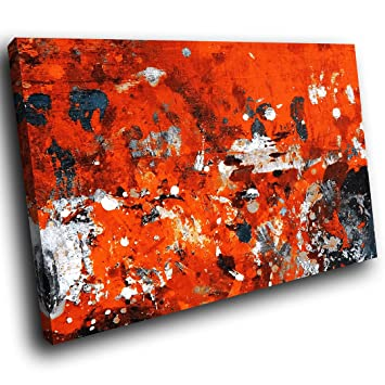 AB1447C gerahmte Leinwanddruck Bunter Wand-Kunst - Orange Schwarz ...