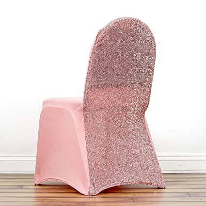 Astounding Efavormart Rose Gold Spandex Stretch Banquet Chair Cover With Metallic Glitte Dinning Event Slipcover For Wedding Party Banquet Alphanode Cool Chair Designs And Ideas Alphanodeonline
