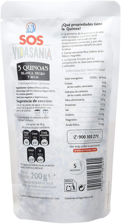 SOS Vidasania 3 Quinoas 200G - [Pack De 12] - Total 2400 Gr