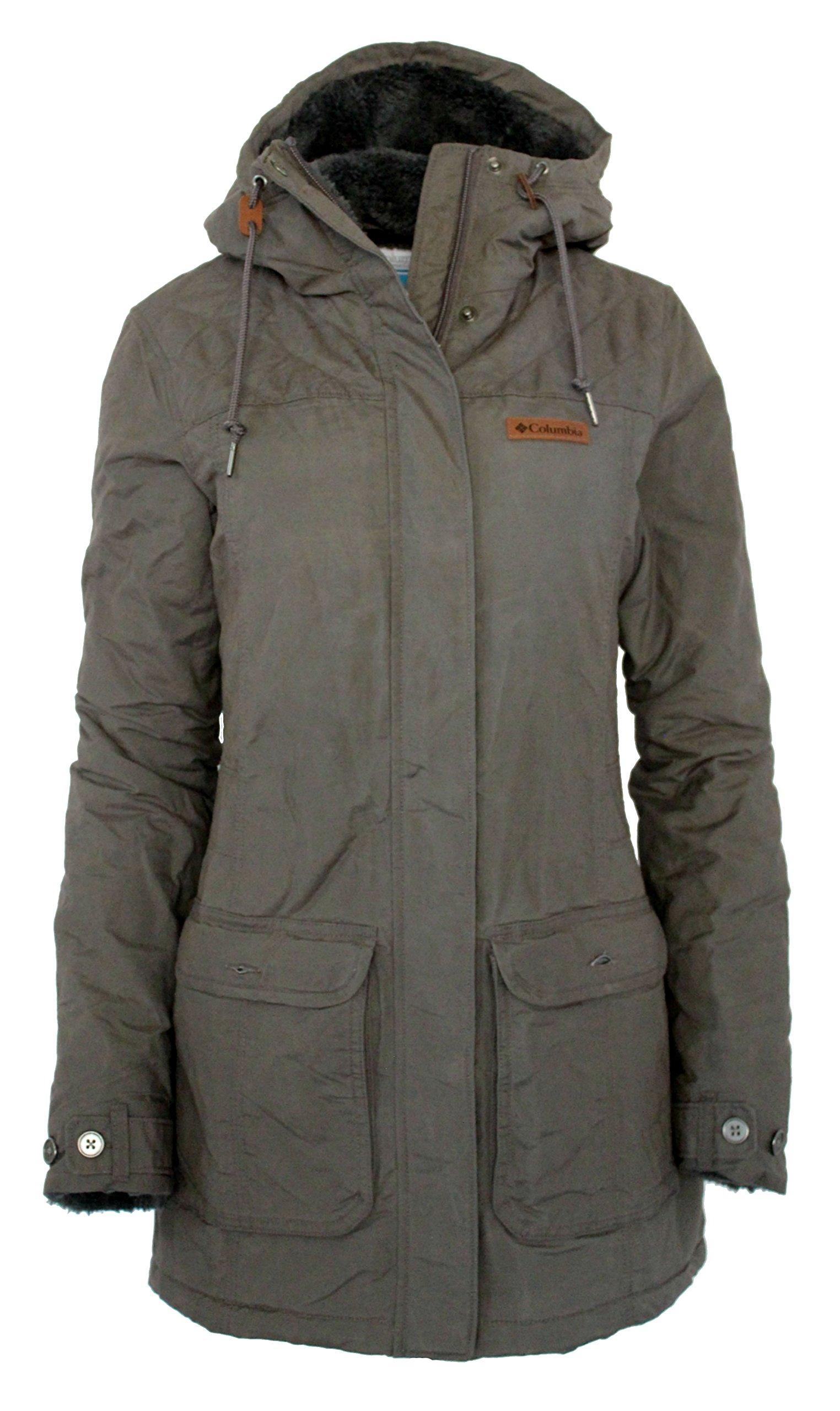 Columbia Women's Pine City Ridge Cotton Blend Plush lined Hooded Jacket (M, Mineshaft)