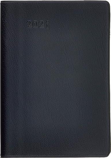 BRUNNEN 1075128901 Taschenkalender//Monats-Sichtkalender Modell 751 Kalendarium 2021 2 Seiten = 1 Monat Kunststoff-Einband schwarz 8,7 x 15,3 cm