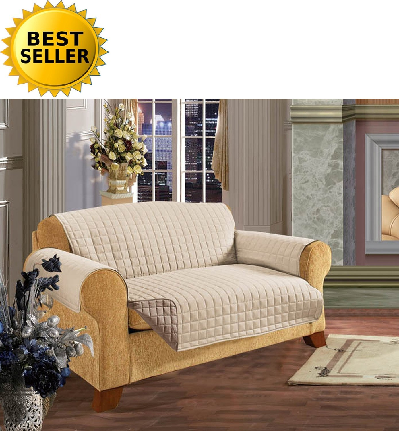 #1 Best Seller Reversible Furniture Protector! Elegance Linen® Luxury Slipcover/Furniture Protector Great for Pets & Children with STRAPS TO PREVENT SLIPPING OFF, Sofa Size, Cream/Taupe by Elegance Linen