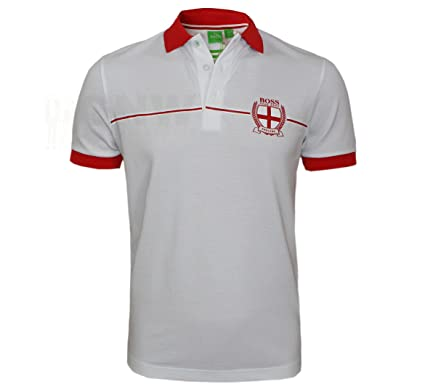 2e7a9c7c7 Image Unavailable. Image not available for. Colour: BOSS HUGO MEN'S GR  PADDY FLAG, ENGLAND POLO SHIRT ...